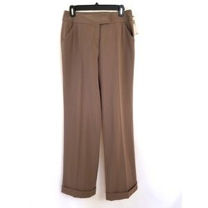 Max Studio Size 6 Cuffed Dress Pants Cocoa Brown